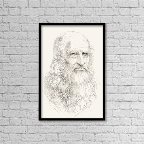 "Printscapes Wall Art: 12"" x 18"" Canvas Print With Black Frame - Leonardo Di Ser Piero Da Vinci, 1452 by Ken Welsh"