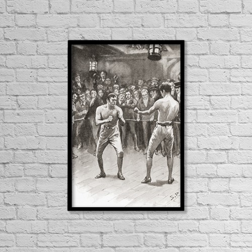 "Printscapes Wall Art: 12"" x 18"" Canvas Print With Black Frame - Bare-Knuckle Boxing In The 19Th Century by Ken Welsh"