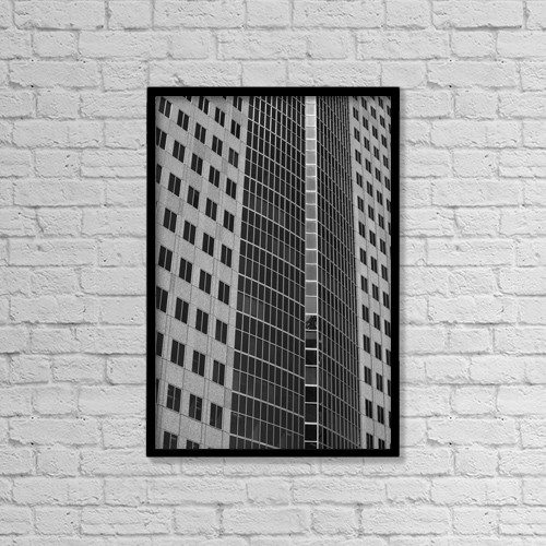 "Printscapes Wall Art: 12"" x 18"" Canvas Print With Black Frame - Office Towers; Montreal, Quebec, Canada by David Chapman"