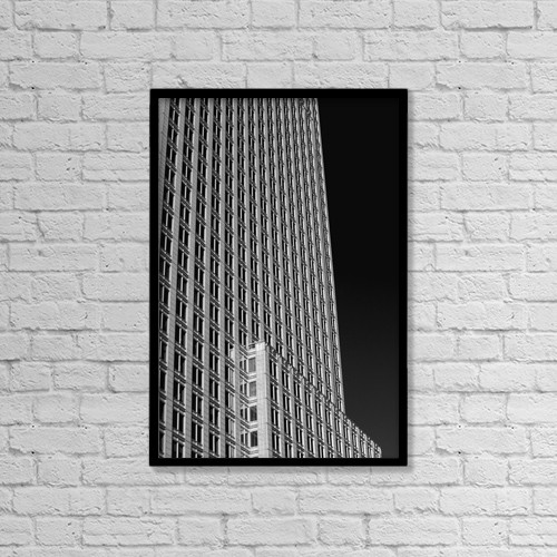 "Printscapes Wall Art: 12"" x 18"" Canvas Print With Black Frame - Office Tower; Montreal, Quebec, Canada by David Chapman"