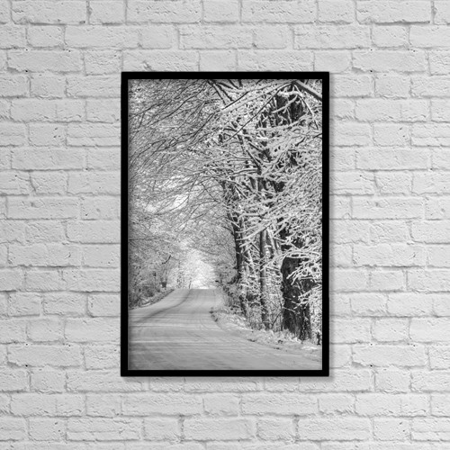 "Printscapes Wall Art: 12"" x 18"" Canvas Print With Black Frame - Snow Covered Road In A Canadian Winter by David Chapman"