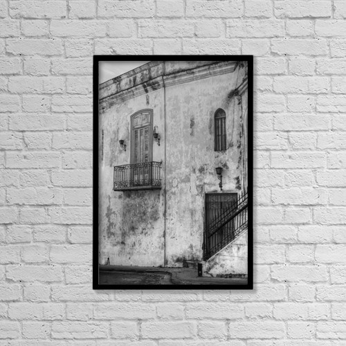 "Printscapes Wall Art: 12"" x 18"" Canvas Print With Black Frame - Building In The Old City Of Havana by David Chapman"
