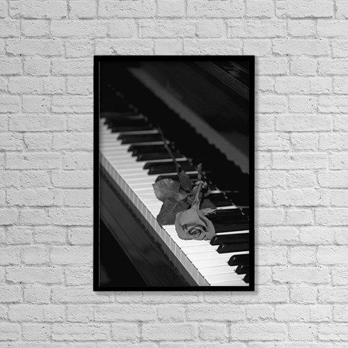 "Printscapes Wall Art: 12"" x 18"" Canvas Print With Black Frame - A Rose On A Piano Keyboard by David Chapman"