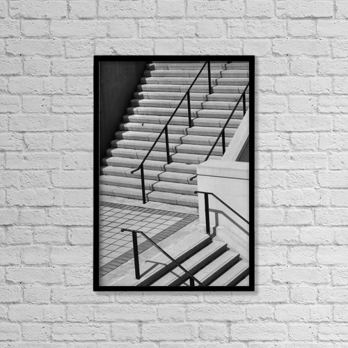 "Printscapes Wall Art: 12"" x 18"" Canvas Print With Black Frame - Steps With A Handrail by David Chapman"