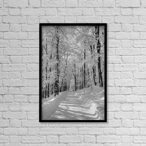 "Printscapes Wall Art: 12"" x 18"" Canvas Print With Black Frame - A Snow Covered Road In Winter by David Chapman"