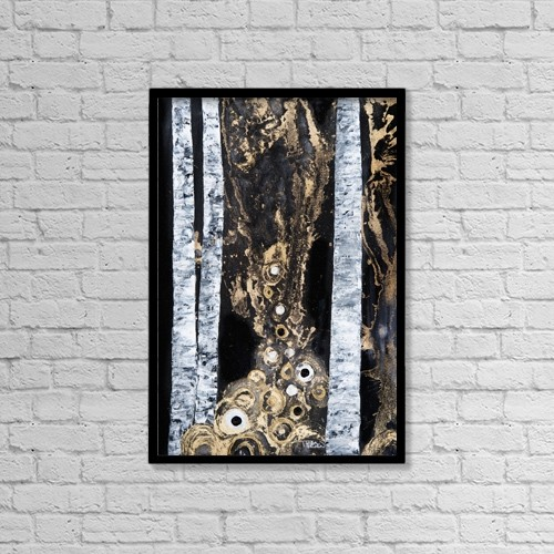 "Printscapes Wall Art: 12"" x 18"" Canvas Print With Black Frame - An Abstract Watercolor Painting Of A Forest by Tara Thelen"