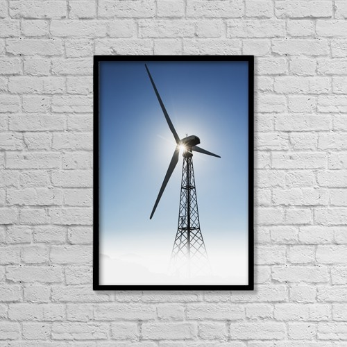 "Printscapes Wall Art: 12"" x 18"" Canvas Print With Black Frame - Sunlight illuminating a wind turbine by Ben Welsh"