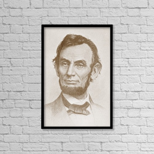"Printscapes Wall Art: 12"" x 18"" Canvas Print With Black Frame - Abraham Lincoln, 1809 by Ken Welsh"