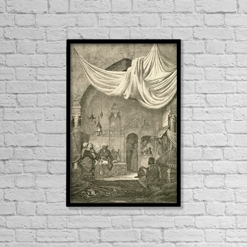 "Printscapes Wall Art: 12"" x 18"" Canvas Print With Black Frame - A 19Th Century Cafe In Cairo, Egypt by Ken Welsh"