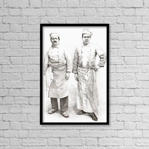"""Printscapes Wall Art: 12"""" x 18"""" Canvas Print With Black Frame - Two 19Th Century Chefs by Ken Welsh"""