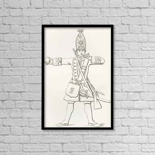 "Printscapes Wall Art: 12"" x 18"" Canvas Print With Black Frame - A Grenadier Of H by Ken Welsh"
