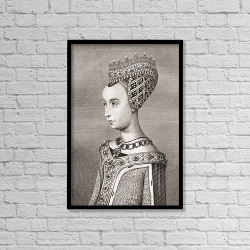 """Printscapes Wall Art: 12"""" x 18"""" Canvas Print With Black Frame - Margaret Of Denmark, 1456 by Ken Welsh"""