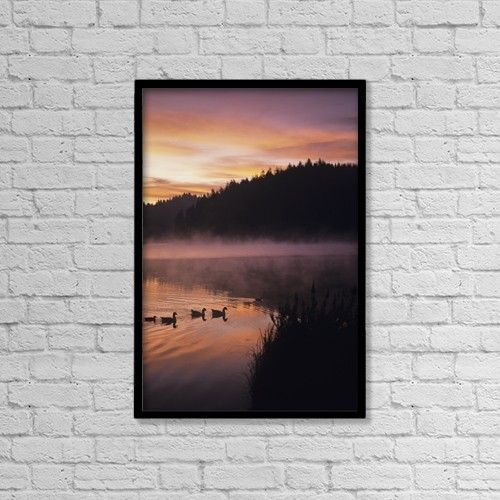 "Printscapes Wall Art: 12"" x 18"" Canvas Print With Black Frame - Eel Lake Reflects The Dawn Sky by Robert L. Potts"