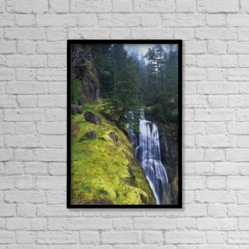 "Printscapes Wall Art: 12"" x 18"" Canvas Print With Black Frame - Golden Falls Plunges Over The Cliffs by Robert L. Potts"