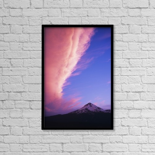 "Printscapes Wall Art: 12"" x 18"" Canvas Print With Black Frame - Pink Clouds Tower Over Mount Hood by Robert L. Potts"