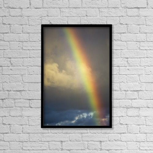 "Printscapes Wall Art: 12"" x 18"" Canvas Print With Black Frame - A Rainbow Brightens The Sky by Robert L. Potts"