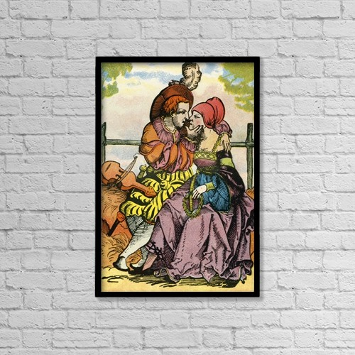 "Printscapes Wall Art: 12"" x 18"" Canvas Print With Black Frame - The Lovers, After A 16th Century Woodcut by Ken Welsh"