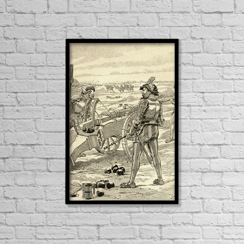 """Printscapes Wall Art: 12"""" x 18"""" Canvas Print With Black Frame - The Battle Of Marignano, 1515 by Ken Welsh"""