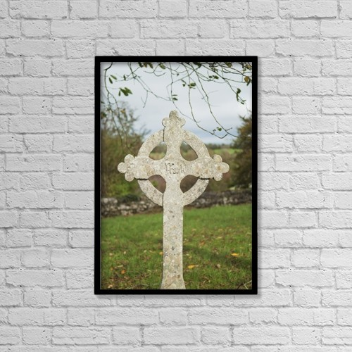 "Printscapes Wall Art: 12"" x 18"" Canvas Print With Black Frame - A celtic cross tombstone;Ireland by John Kroetch"