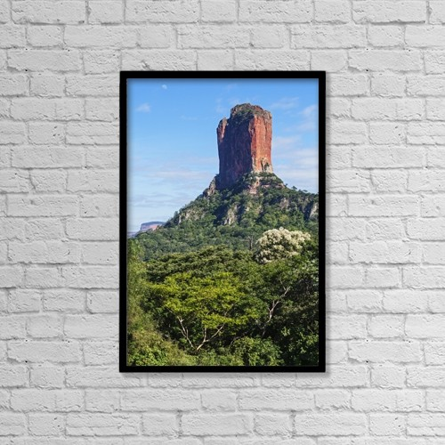 "Printscapes Wall Art: 12"" x 18"" Canvas Print With Black Frame - Table Mountain; Santa Cruz, Bolivia by Carl Bruemmer"