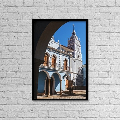 "Printscapes Wall Art: 12"" x 18"" Canvas Print With Black Frame - Colonial Church At Main Plaza by Carl Bruemmer"