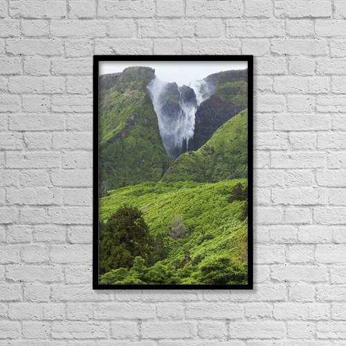 "Printscapes Wall Art: 12"" x 18"" Canvas Print With Black Frame - Waterfall On Flores Island by Carl Bruemmer"