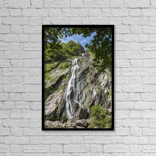 "Printscapes Wall Art: 12"" x 18"" Canvas Print With Black Frame - Powerscourt Waterfall by Carl Bruemmer"