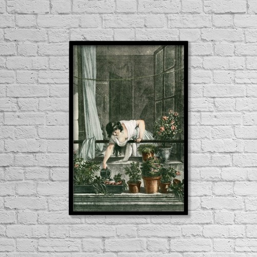 "Printscapes Wall Art: 12"" x 18"" Canvas Print With Black Frame - Young Woman Watering Plants On Her Balcony by Ken Welsh"