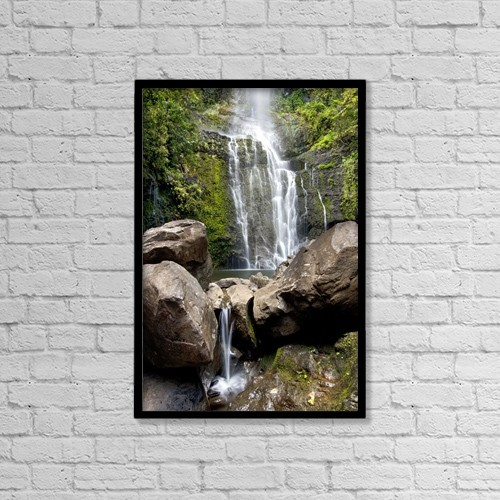 "Printscapes Wall Art: 12"" x 18"" Canvas Print With Black Frame - Hawaii, Maui, A View Of Wailua Falls by Jenna Szerlag"