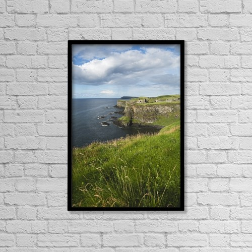 """Printscapes Wall Art: 12"""" x 18"""" Canvas Print With Black Frame - Dunluce Castle On The Antrim Coast by Carl Bruemmer"""