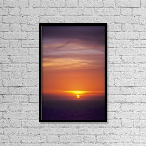 "Printscapes Wall Art: 12"" x 18"" Canvas Print With Black Frame - The Sun Sets Over The Pacific Ocean by Robert L. Potts"
