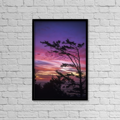 """Printscapes Wall Art: 12"""" x 18"""" Canvas Print With Black Frame - The Sun Sets Near Cape Perpetua by Robert L. Potts"""