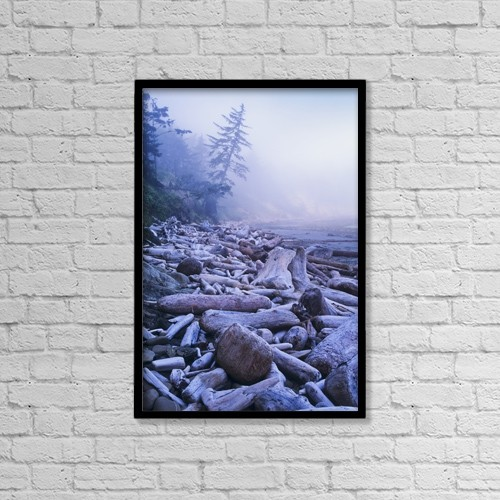 "Printscapes Wall Art: 12"" x 18"" Canvas Print With Black Frame - Driftwood Piles Deeply At North Cove by Robert L. Potts"
