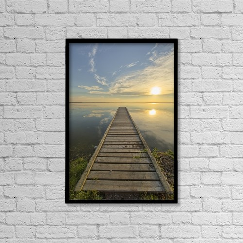 "Printscapes Wall Art: 12"" x 18"" Canvas Print With Black Frame - Wharf, Queen Elizabeth Provincial Park by Robert Postma"