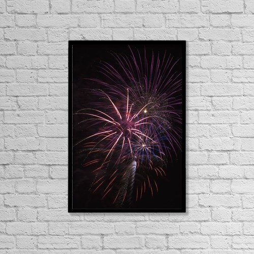 "Printscapes Wall Art: 12"" x 18"" Canvas Print With Black Frame - Fireworks Display by Robert L. Potts"