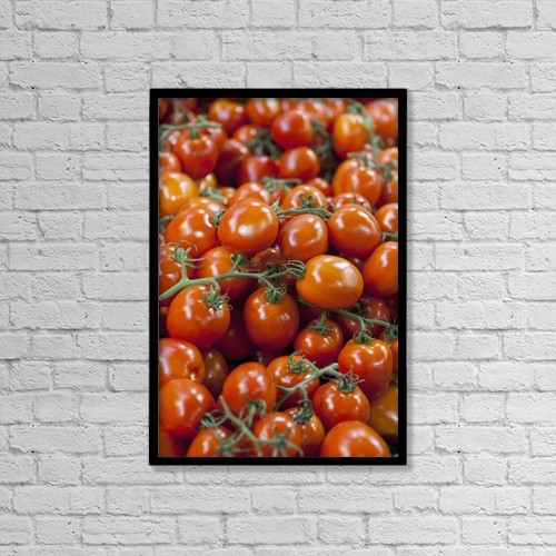 "Printscapes Wall Art: 12"" x 18"" Canvas Print With Black Frame - Tomatoes For Sale At Borough Market by Kav Dadfar"