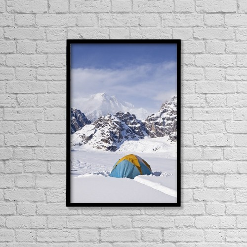 "Printscapes Wall Art: 12"" x 18"" Canvas Print With Black Frame - Mountain Tent On Ridge In Winter, Mt by Gary Schultz"