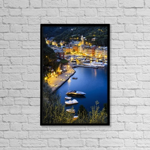 "Printscapes Wall Art: 12"" x 18"" Canvas Print With Black Frame - View Of The Harbour At Dusk by Yves Marcoux"