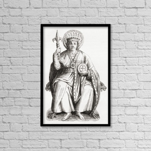 "Printscapes Wall Art: 12"" x 18"" Canvas Print With Black Frame - Pepin The Younger, C. 714 by Ken Welsh"