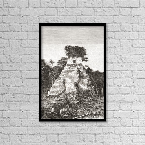 """Printscapes Wall Art: 12"""" x 18"""" Canvas Print With Black Frame - Tikal, Guatemala, Central America by Ken Welsh"""