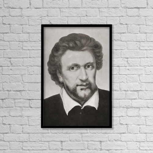 "Printscapes Wall Art: 12"" x 18"" Canvas Print With Black Frame - Benjamin ""ben"" Jonson, C.1572 by Ken Welsh"