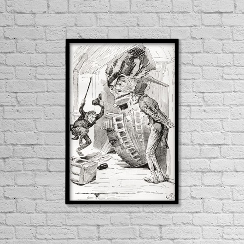 "Printscapes Wall Art: 12"" x 18"" Canvas Print With Black Frame - Quilp Vents His Spite On The Figure Head by Ken Welsh"