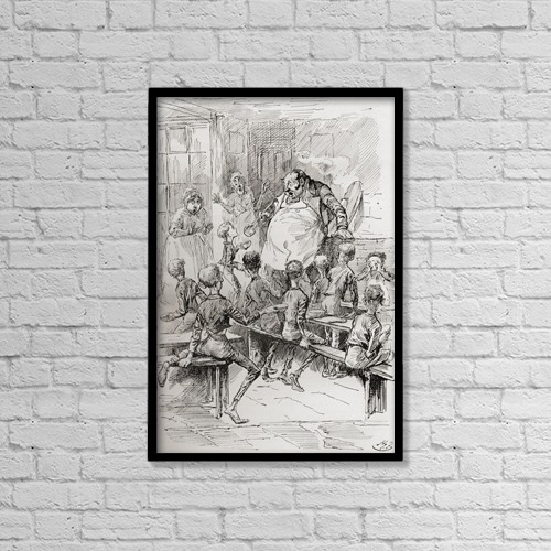 """Printscapes Wall Art: 12"""" x 18"""" Canvas Print With Black Frame - Starvation In The Workhouse by Ken Welsh"""