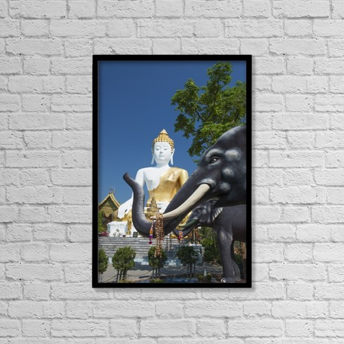 "Printscapes Wall Art: 12"" x 18"" Canvas Print With Black Frame - Wat Doi Kham Temple Buddha by Stuart Corlett"