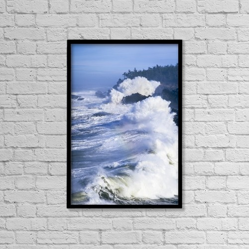 "Printscapes Wall Art: 12"" x 18"" Canvas Print With Black Frame - Surf Breaks On The Rocks by Robert L. Potts"