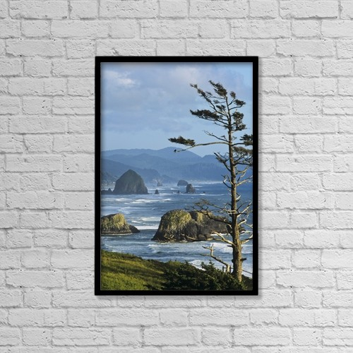 "Printscapes Wall Art: 12"" x 18"" Canvas Print With Black Frame - Haystack Rock Viewed From Ecola Point by Robert L. Potts"