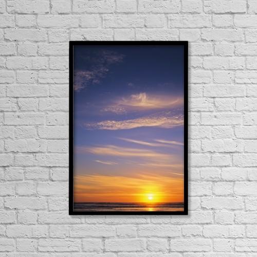 "Printscapes Wall Art: 12"" x 18"" Canvas Print With Black Frame - The Sun Sets At Umpqua Beach by Robert L. Potts"