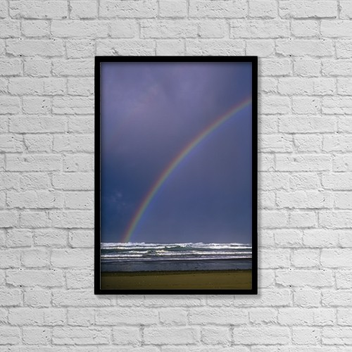 "Printscapes Wall Art: 12"" x 18"" Canvas Print With Black Frame - A Rainbows Arcs Over The Surf by Robert L. Potts"
