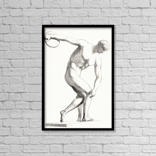 """Printscapes Wall Art: 12"""" x 18"""" Canvas Print With Black Frame - The Discobolus Of Myron by Ken Welsh"""
