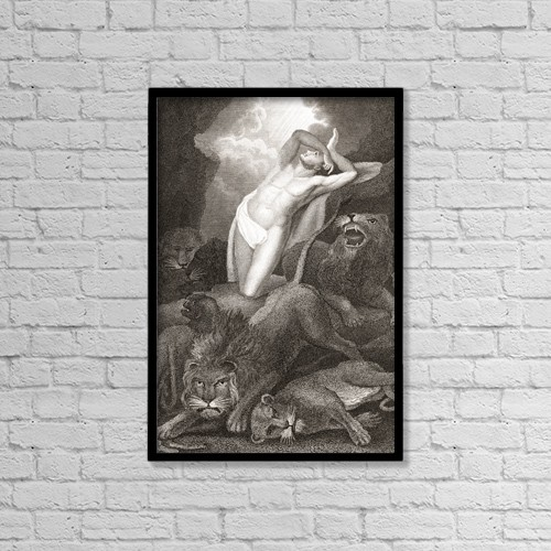 "Printscapes Wall Art: 12"" x 18"" Canvas Print With Black Frame - Daniel In The Lion's Den by Ken Welsh"